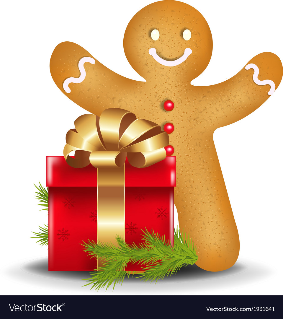 Gingerbread man with red gift box vector | Price: 1 Credit (USD $1)