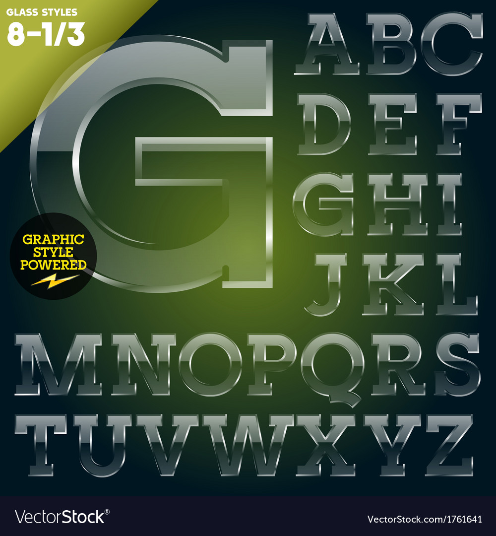 Glass font powered graphic styles vector | Price: 1 Credit (USD $1)
