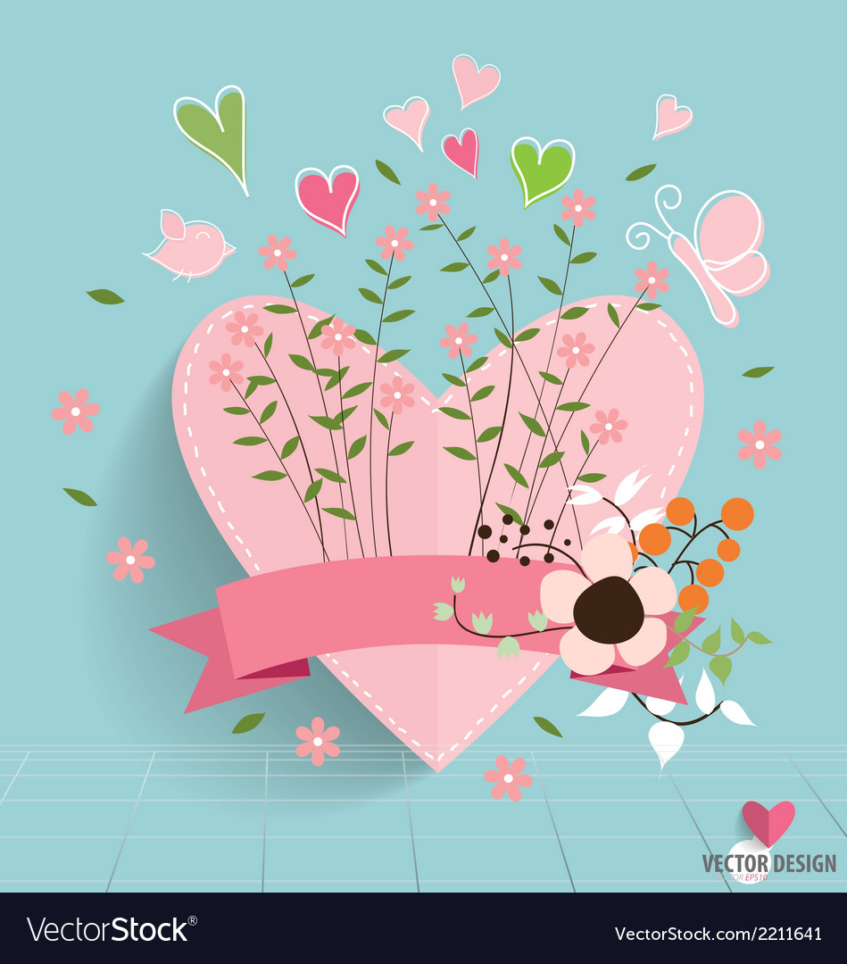 Heart paper with floral bouquets and ribbon vector | Price: 1 Credit (USD $1)