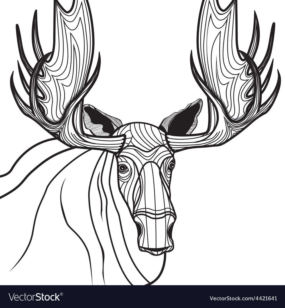 Moose head animal for t-shirt sketch elk tattoo de vector | Price: 1 Credit (USD $1)