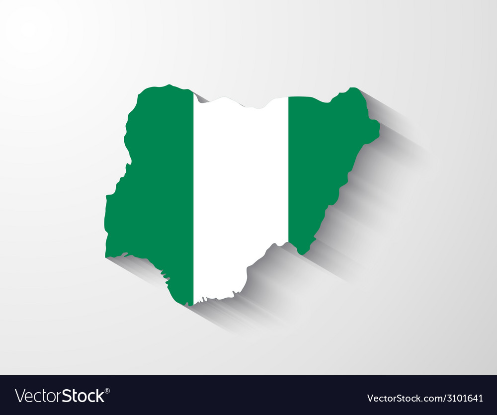 Nigeria map with shadow effect vector | Price: 1 Credit (USD $1)