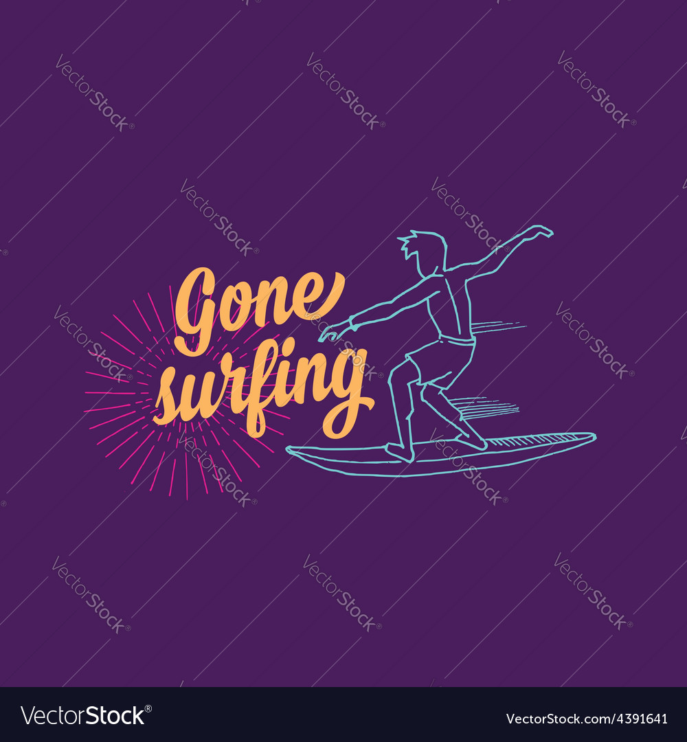Surf surfboard icon banner surfer vector | Price: 1 Credit (USD $1)