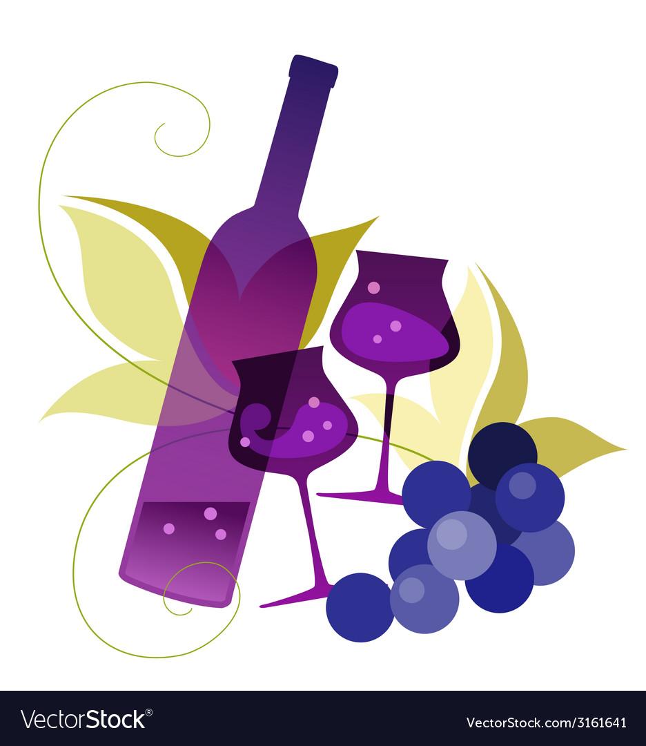 Wineglassses and grape vector | Price: 1 Credit (USD $1)