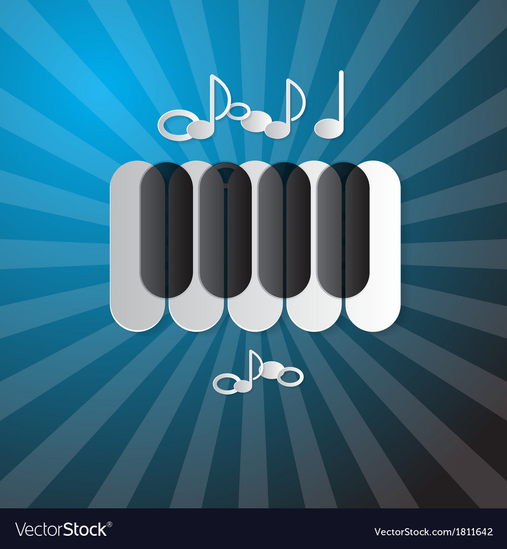 Abstract blue music background with piano keyboard vector | Price: 1 Credit (USD $1)