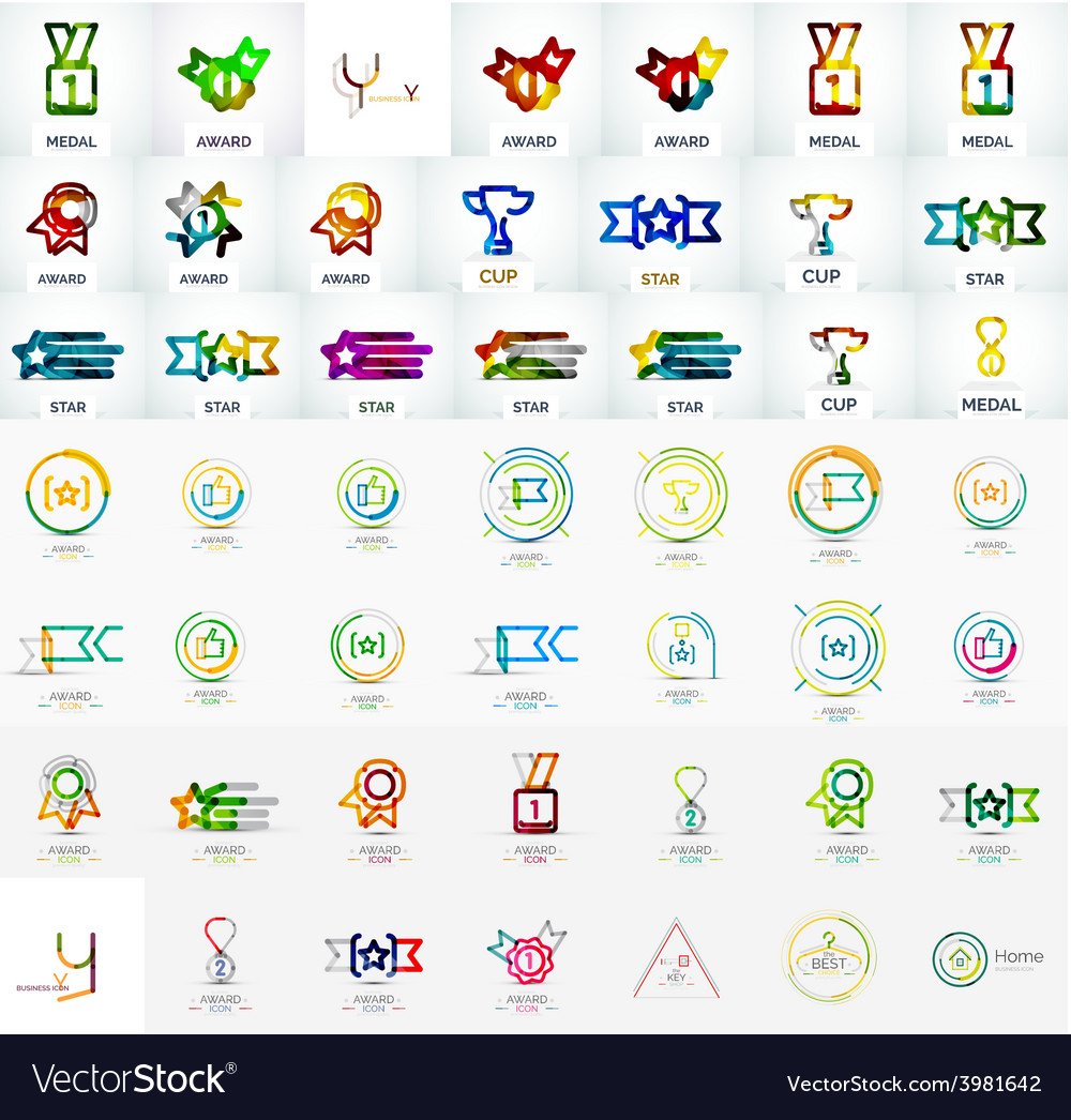 Award mega icon set vector | Price: 1 Credit (USD $1)