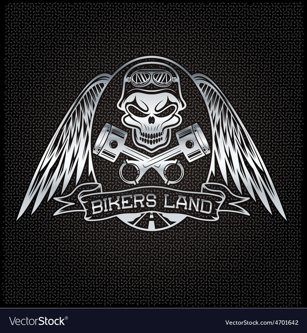 Bikers land silver crest with skullwings and vector | Price: 1 Credit (USD $1)