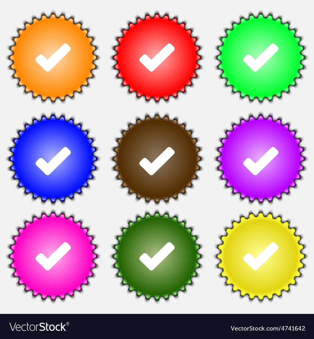 Check mark tik icon sign a set of nine different vector | Price: 1 Credit (USD $1)