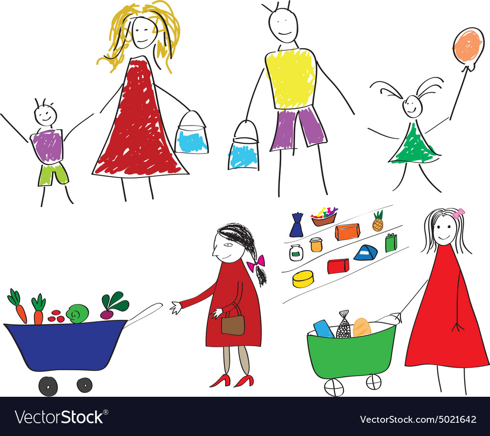 Childrens drawings with the family and the child vector