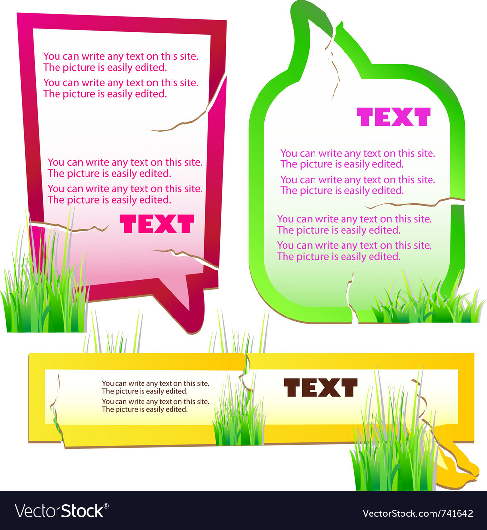 Colorful grass speech stickers vector | Price: 1 Credit (USD $1)