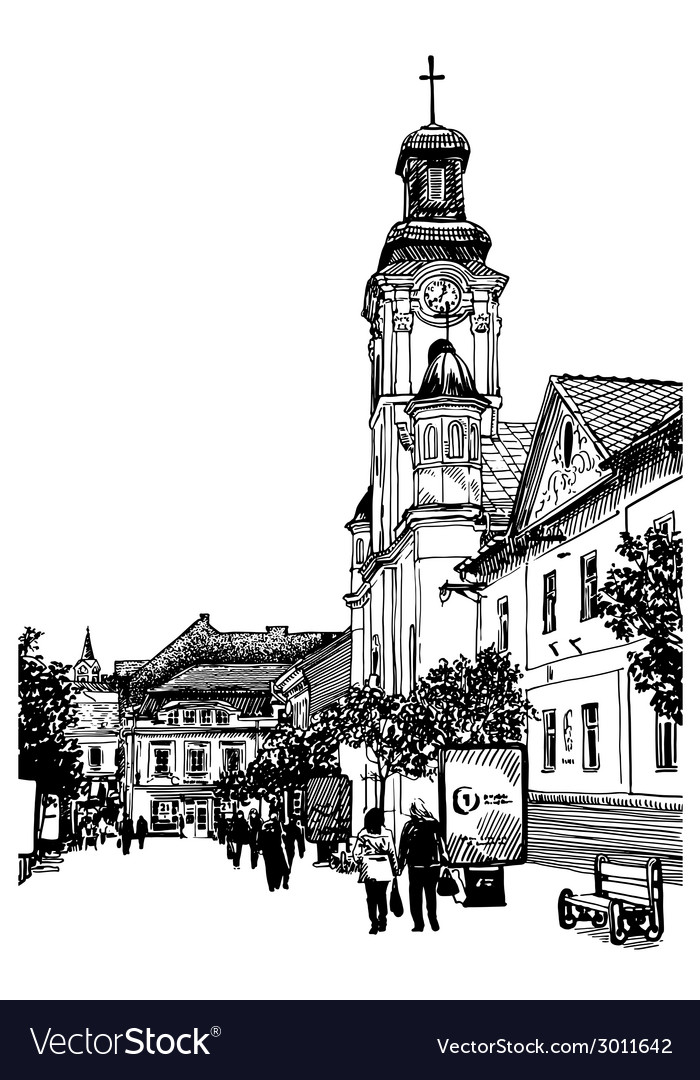 Digital sketch black and white of uzhgorod vector | Price: 1 Credit (USD $1)