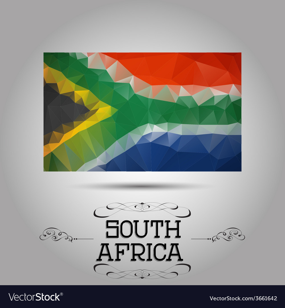 Geometric polygonal south africa flag vector | Price: 1 Credit (USD $1)
