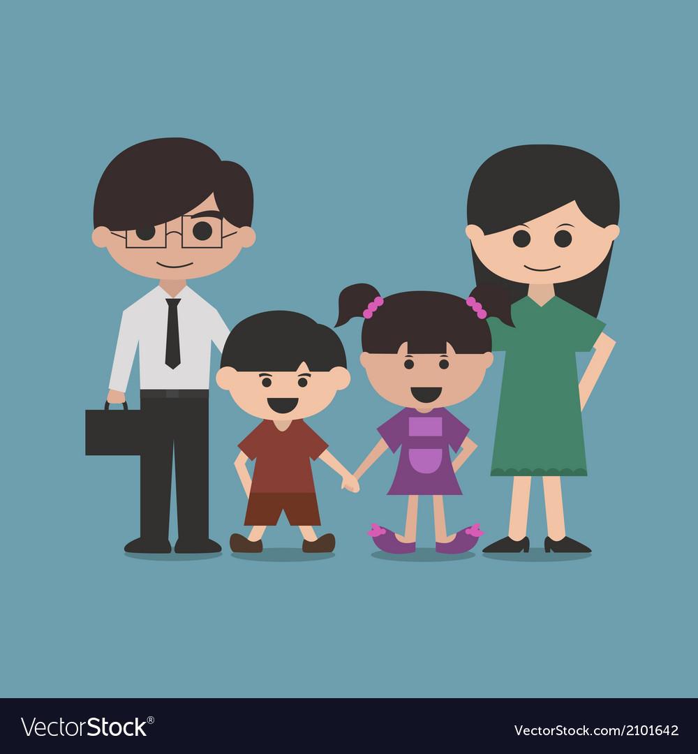 Happy family cartoon character vector | Price: 1 Credit (USD $1)