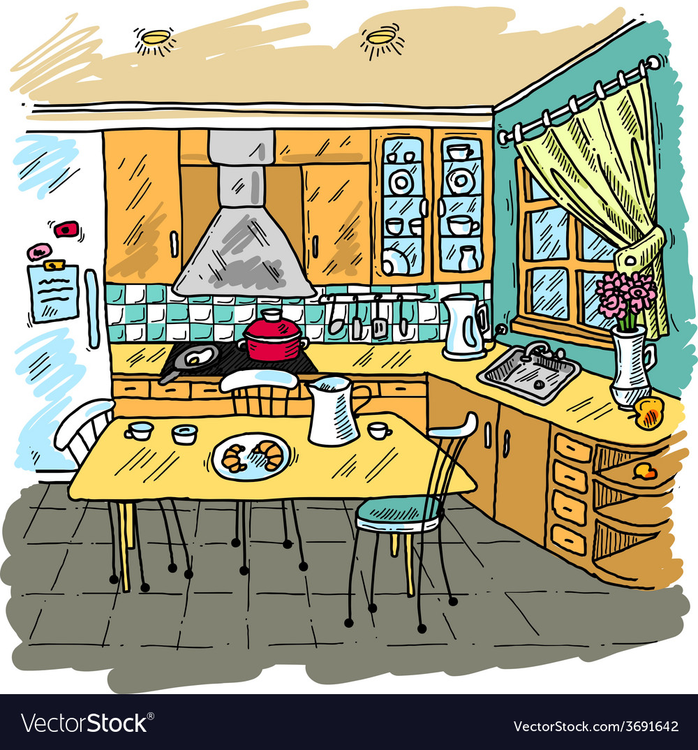 Kitchen colored sketch vector | Price: 1 Credit (USD $1)