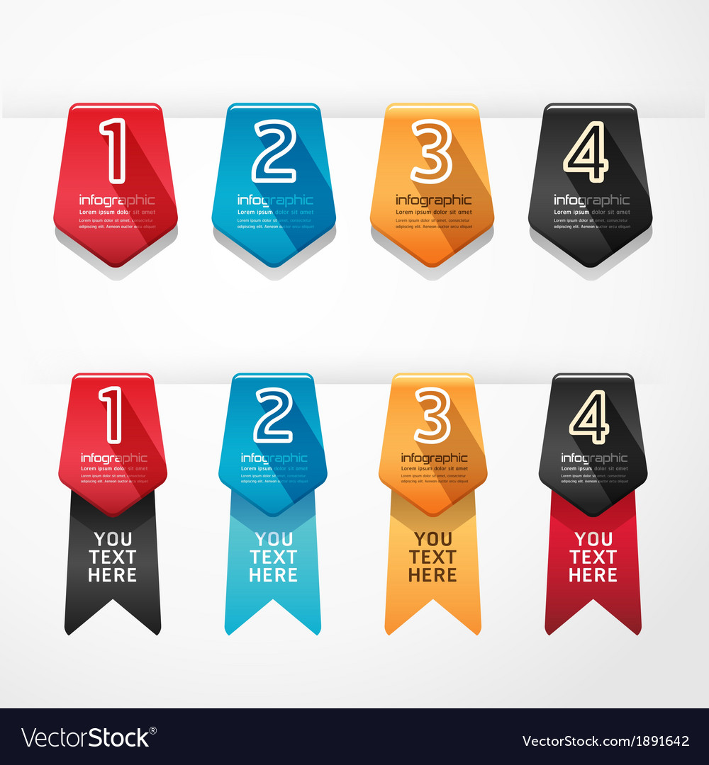 Modern design button banners number vector | Price: 1 Credit (USD $1)