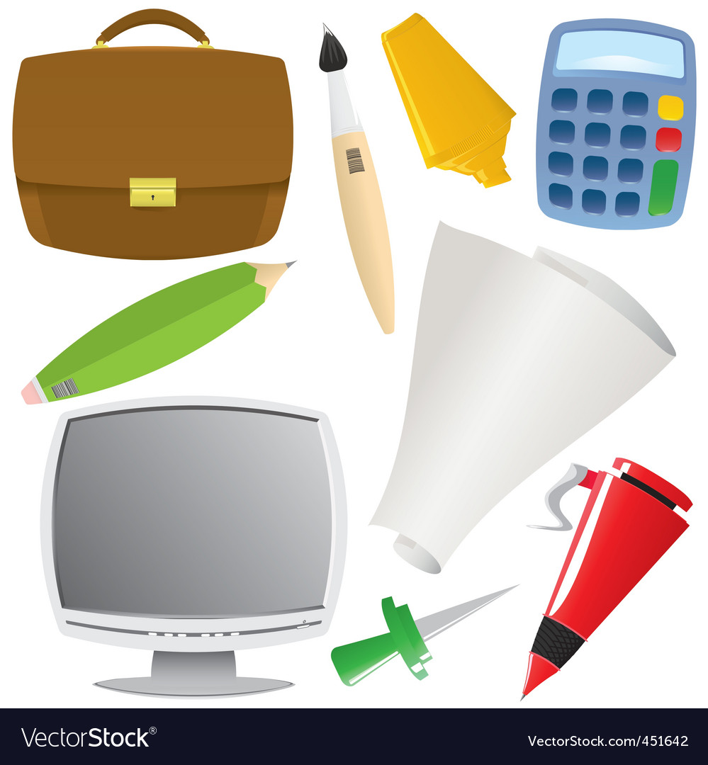 Office object set vector | Price: 1 Credit (USD $1)
