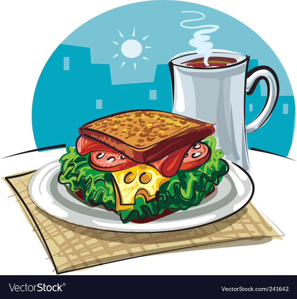 Sandwich and coffee vector | Price: 3 Credit (USD $3)