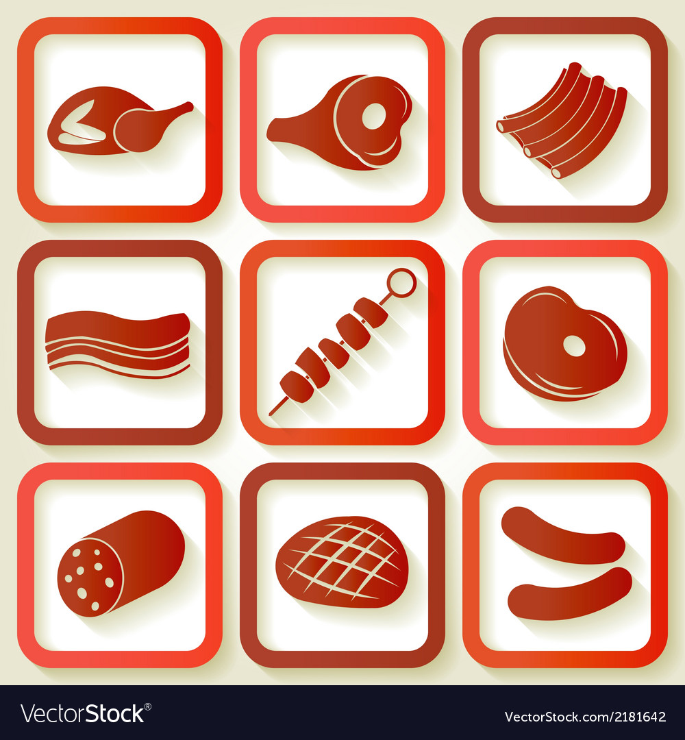 Set of 9 retro icons with meat pieces vector | Price: 1 Credit (USD $1)