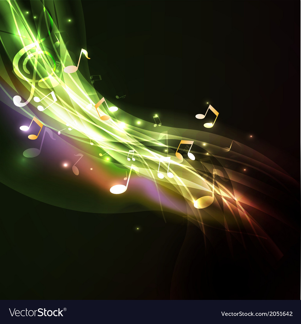 Shiny flow music note background vector | Price: 1 Credit (USD $1)