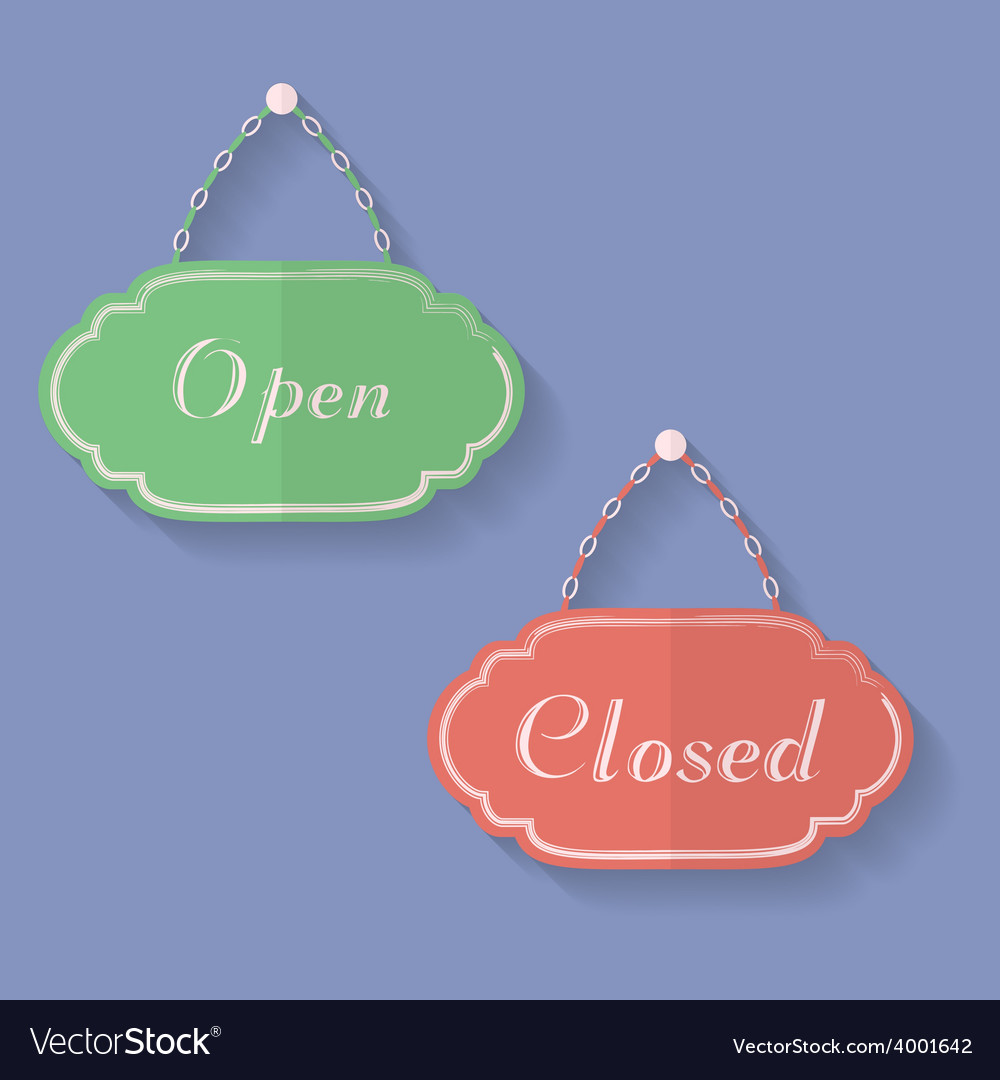 Signs of open and closed open closed icons vector