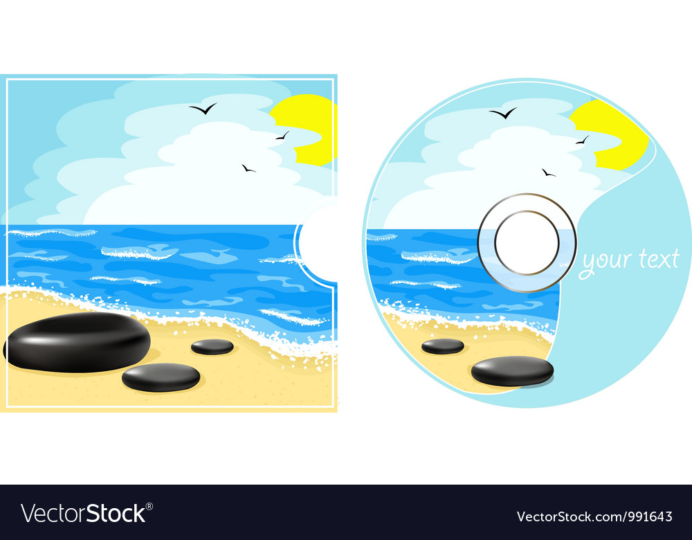 Cd label with a sea view vector | Price: 1 Credit (USD $1)