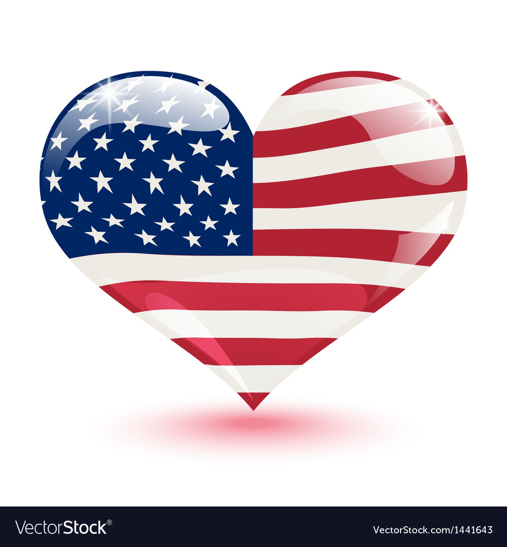 Flag of the united states in the form of heart vector | Price: 1 Credit (USD $1)