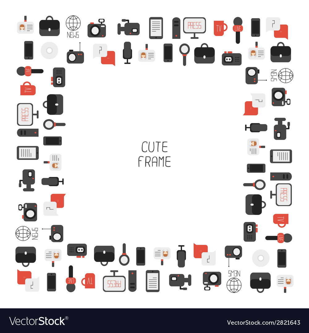 Frame of of flat colorful journalism icons mass vector | Price: 1 Credit (USD $1)