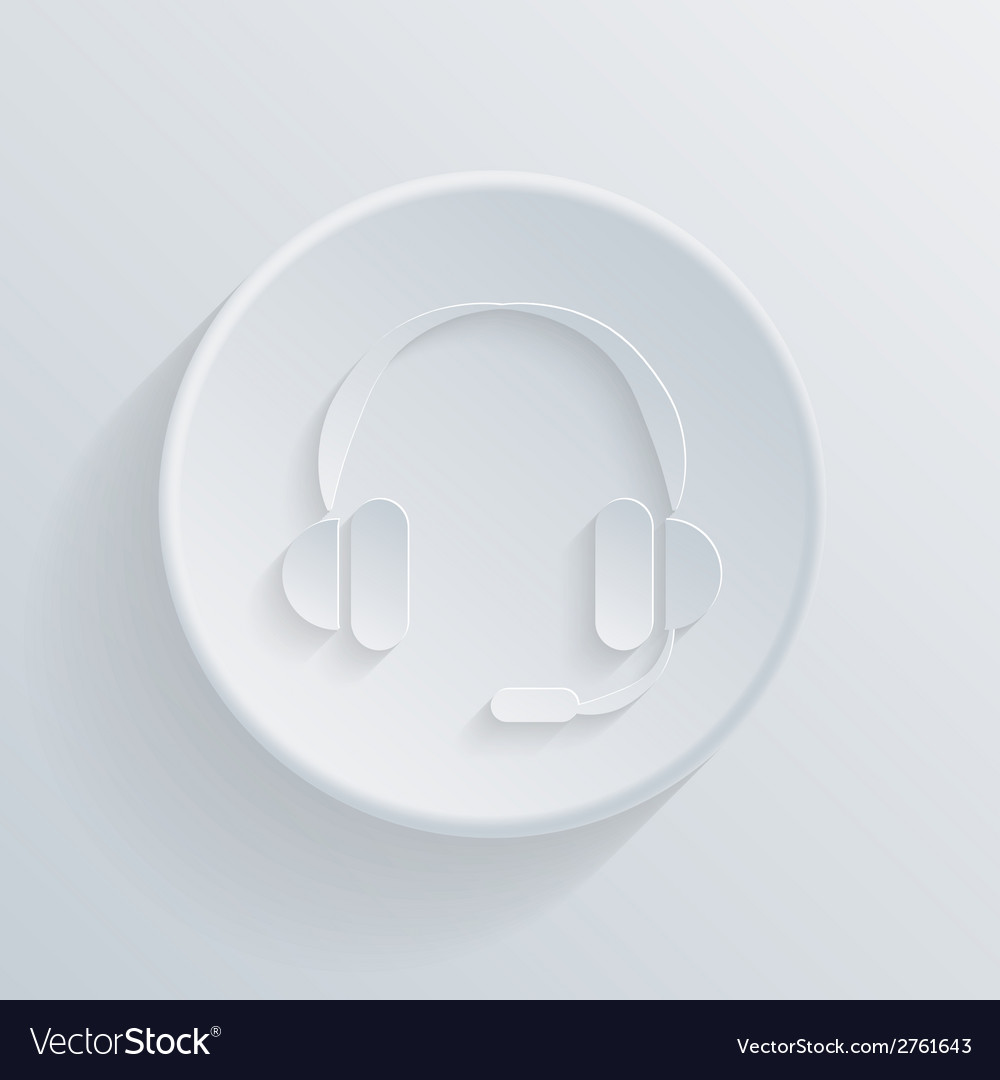 Paper circle icon with a shadow customer support vector | Price: 1 Credit (USD $1)