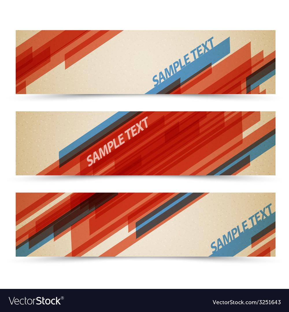 Set of retro horizontal banners vector | Price: 1 Credit (USD $1)