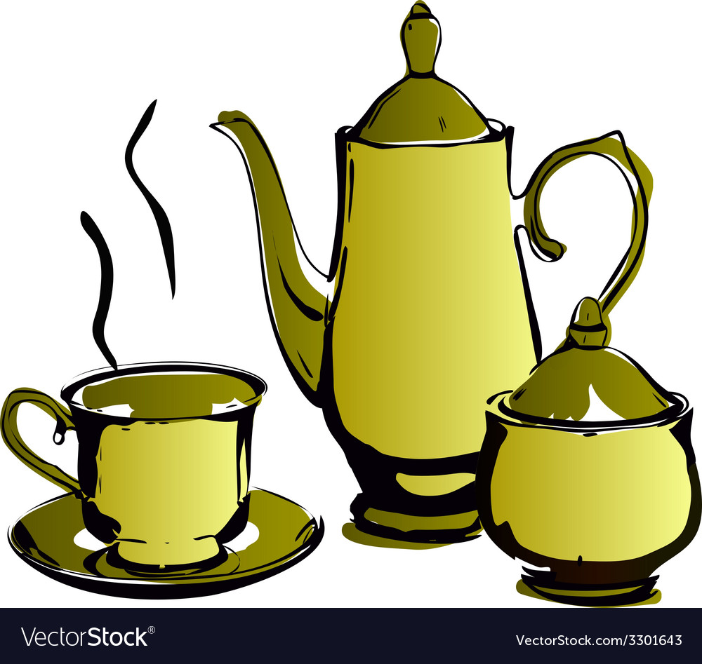 Teapot and cups isolated on a white backgrounds vector | Price: 1 Credit (USD $1)