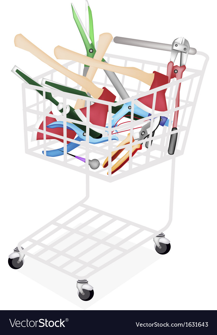 Various craft tools in a shopping cart vector | Price: 1 Credit (USD $1)