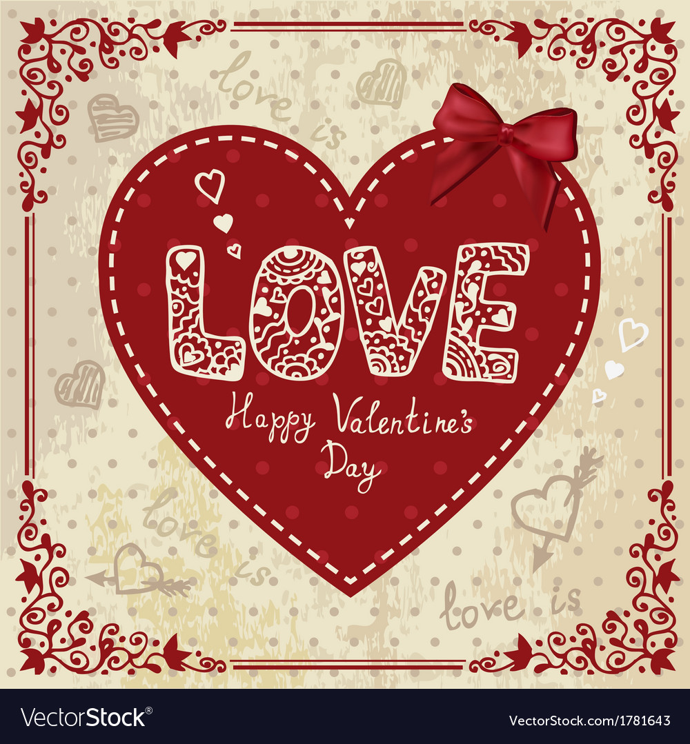 Vintage card with heart vector | Price: 1 Credit (USD $1)
