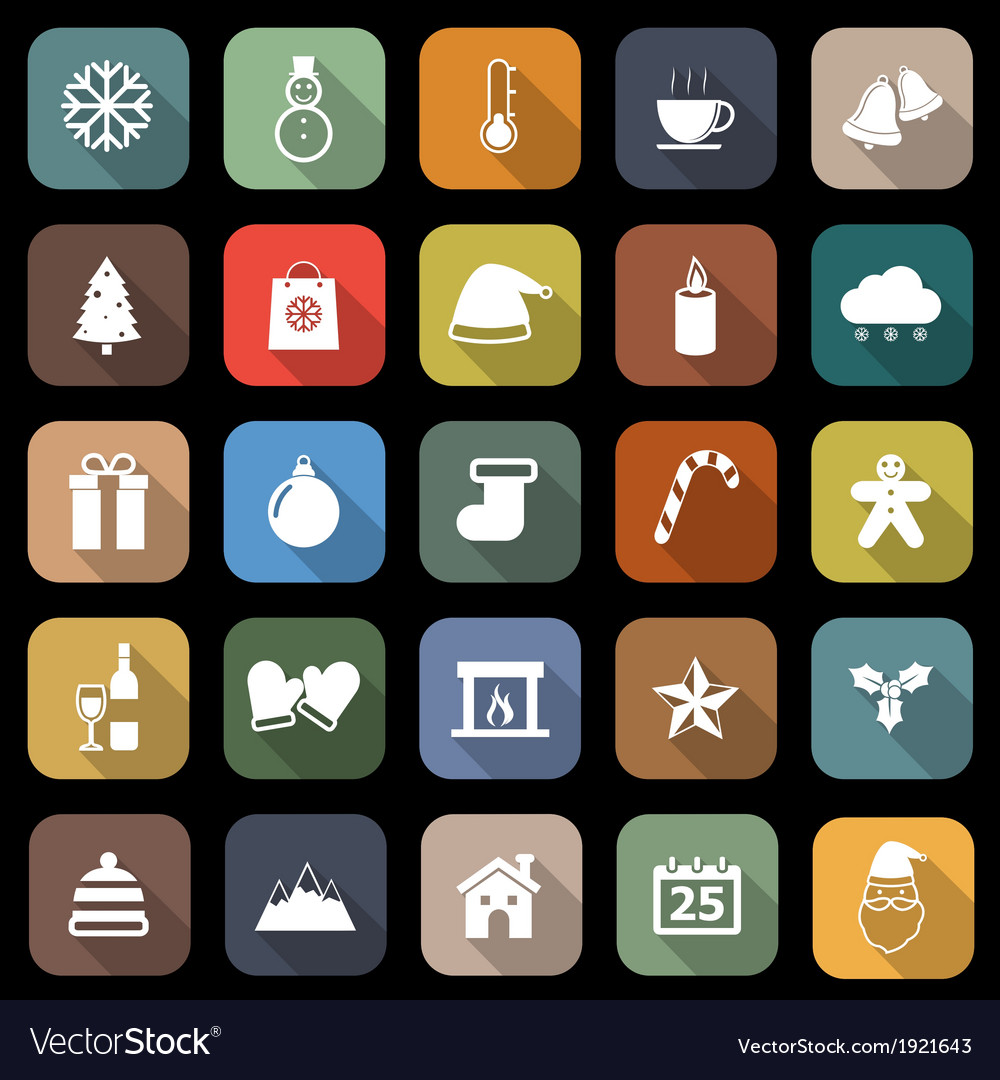 Winter flat icons with long shadow vector | Price: 1 Credit (USD $1)