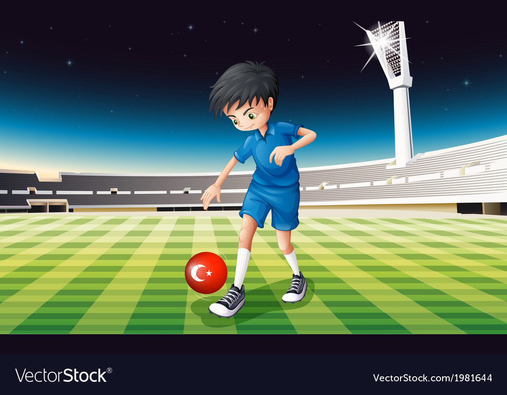 A boy kicking the ball with the flag of turkey vector | Price: 1 Credit (USD $1)
