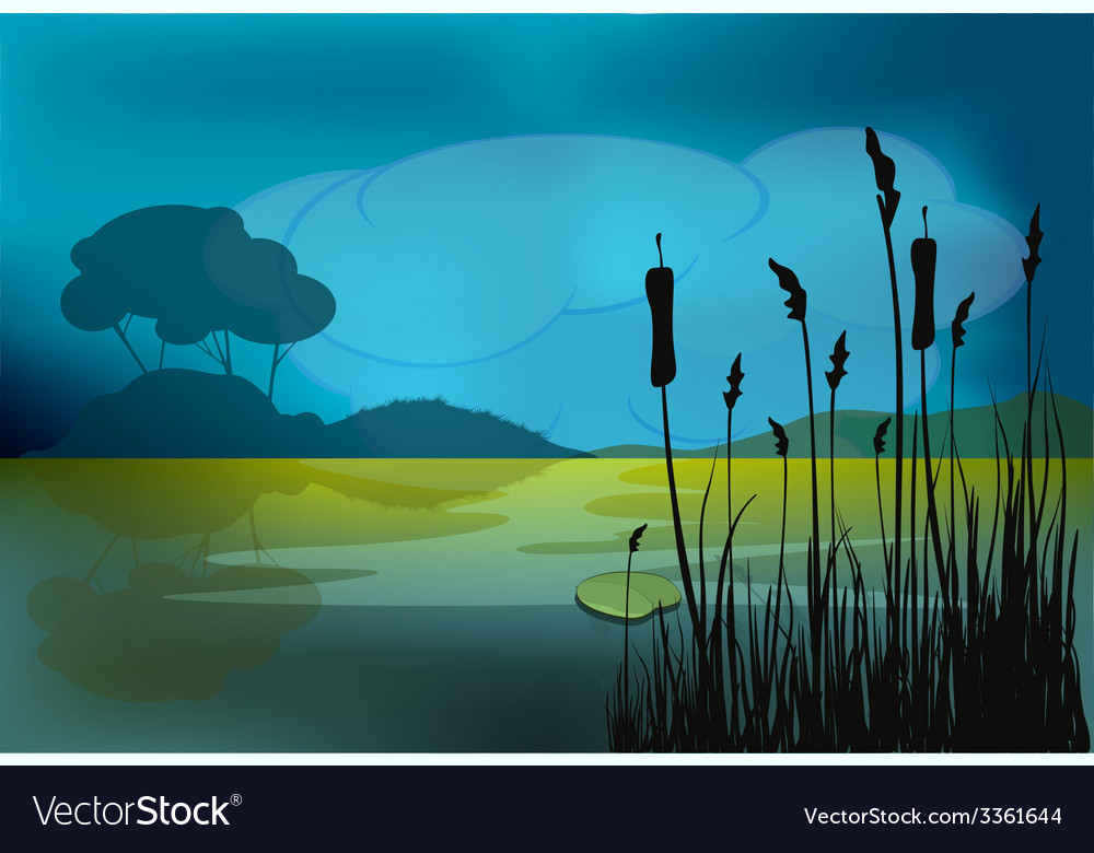 A night landscape vector | Price: 1 Credit (USD $1)