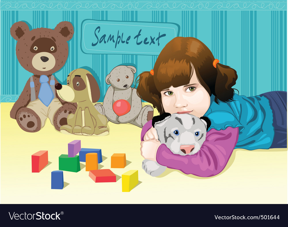 Baby playing with toys vector | Price: 5 Credit (USD $5)