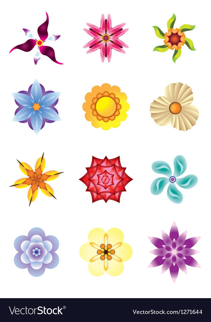 Colourful flower icons set vector | Price: 1 Credit (USD $1)