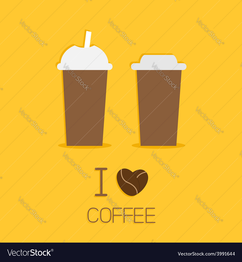 Disposable coffee paper cups icon i love coffee vector | Price: 1 Credit (USD $1)