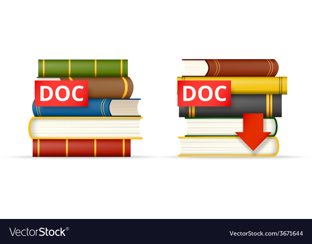 Doc format books stacks icons vector | Price: 1 Credit (USD $1)