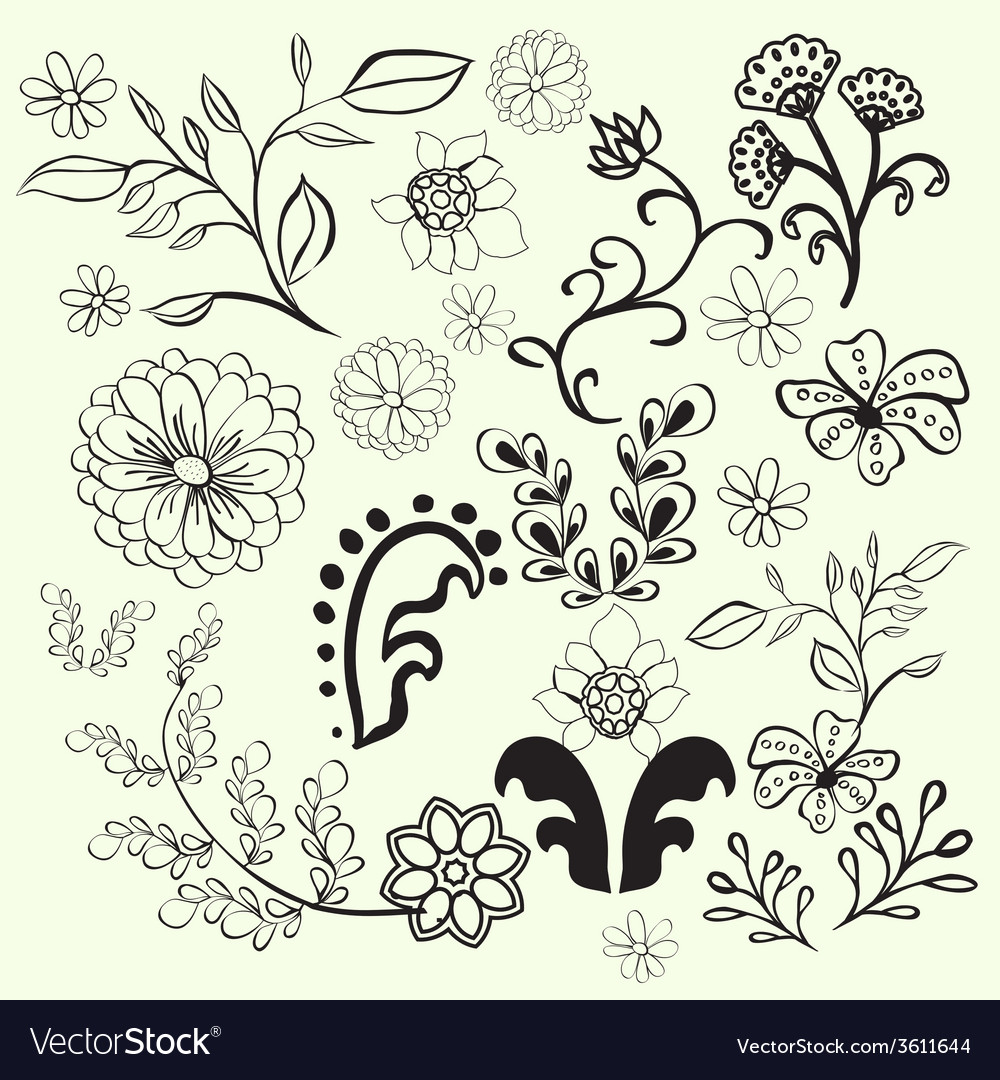 Doodles flowers and design elements vector | Price: 1 Credit (USD $1)