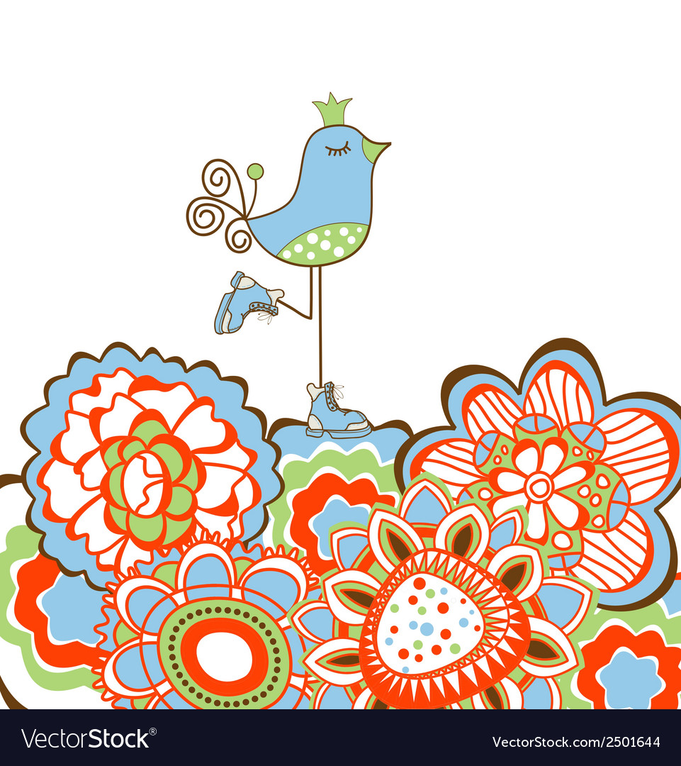 Flowers and bird decoration vector | Price: 1 Credit (USD $1)