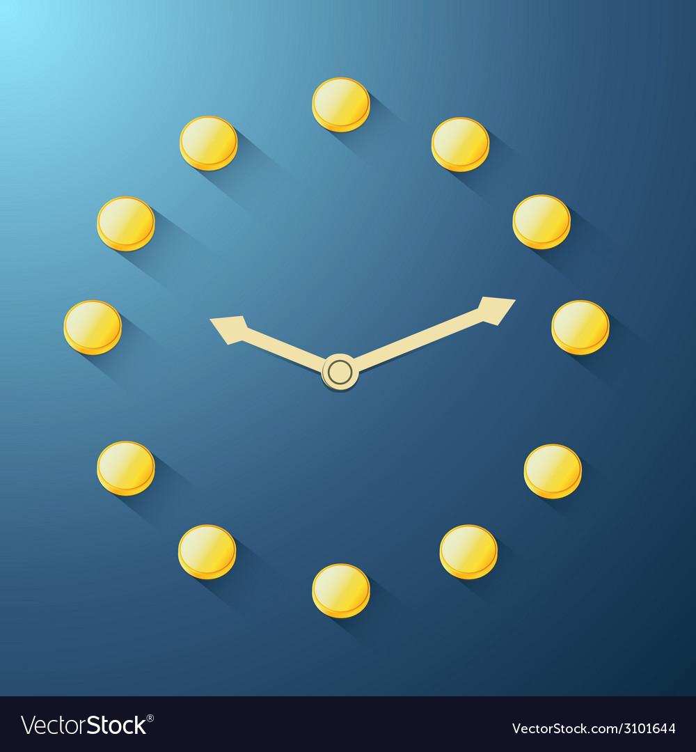 Golden coin clock vector | Price: 1 Credit (USD $1)