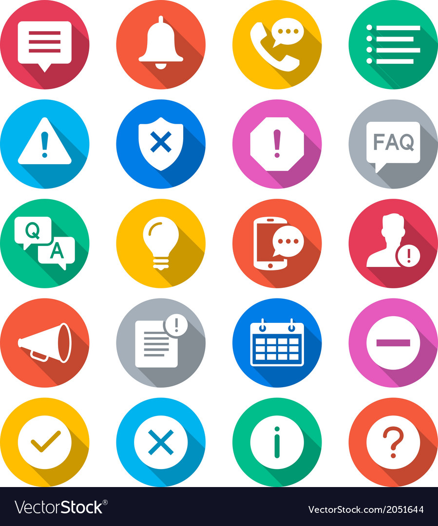Information and notification flat color icons vector