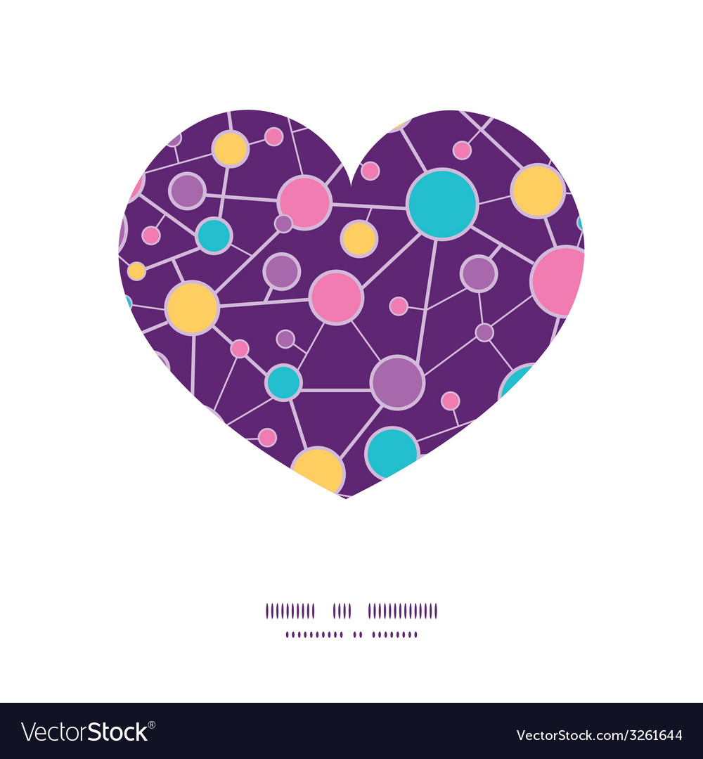 Molecular structure heart silhouette pattern frame vector | Price: 1 Credit (USD $1)