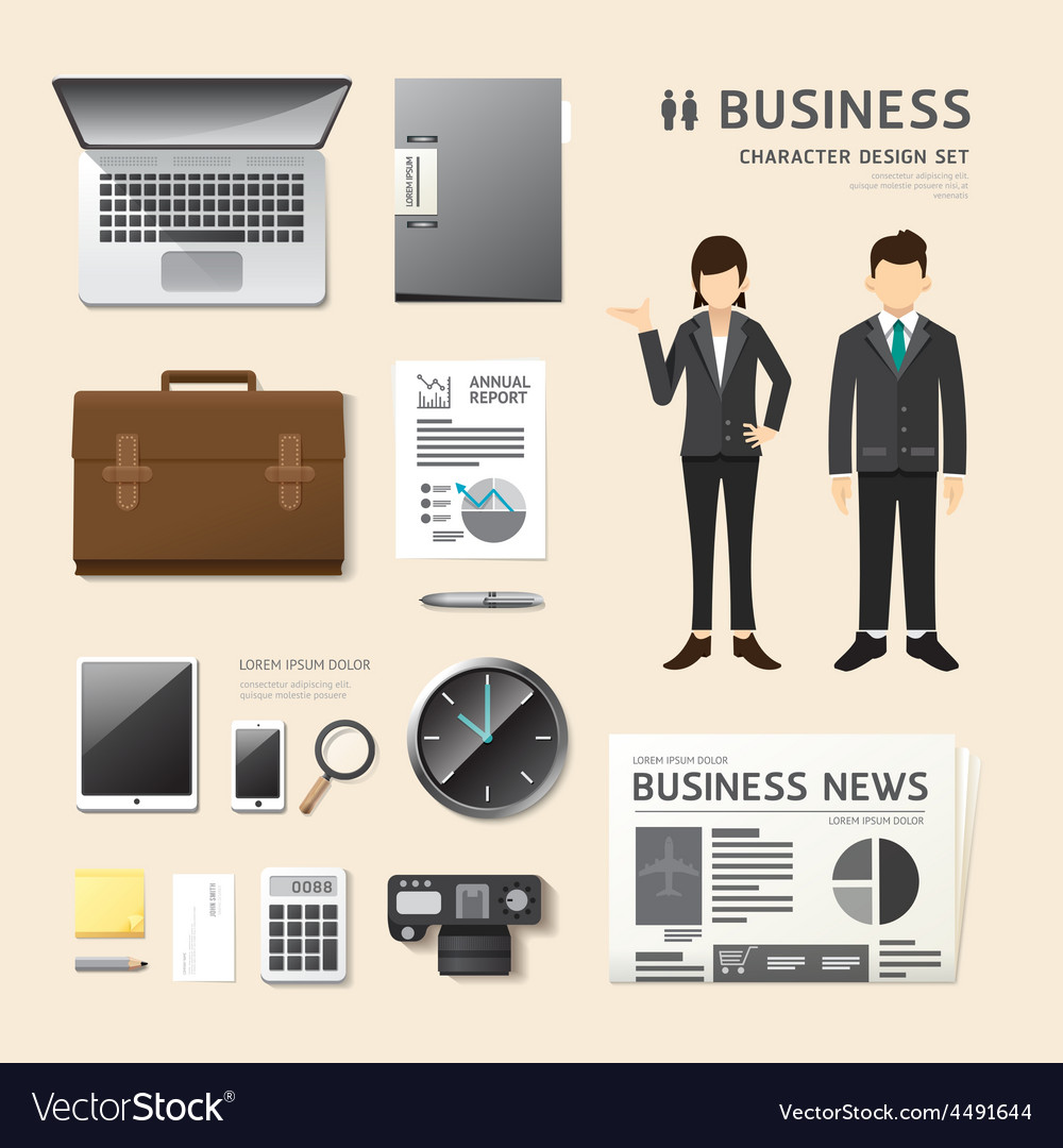 People set business job character icons flat style vector | Price: 3 Credit (USD $3)