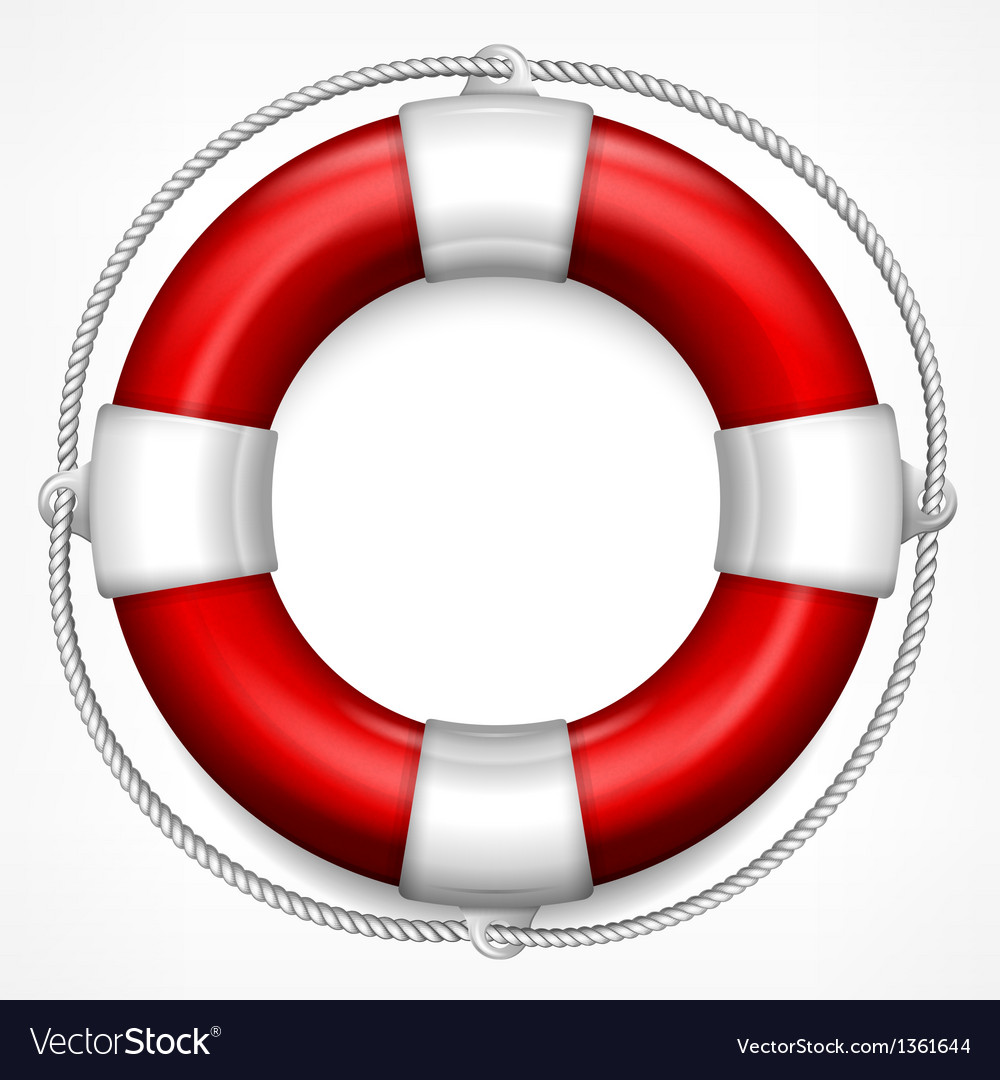 Red life buoy on white vector | Price: 1 Credit (USD $1)