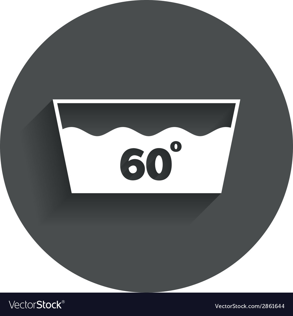 Wash icon machine washable at 60 degrees symbol vector | Price: 1 Credit (USD $1)