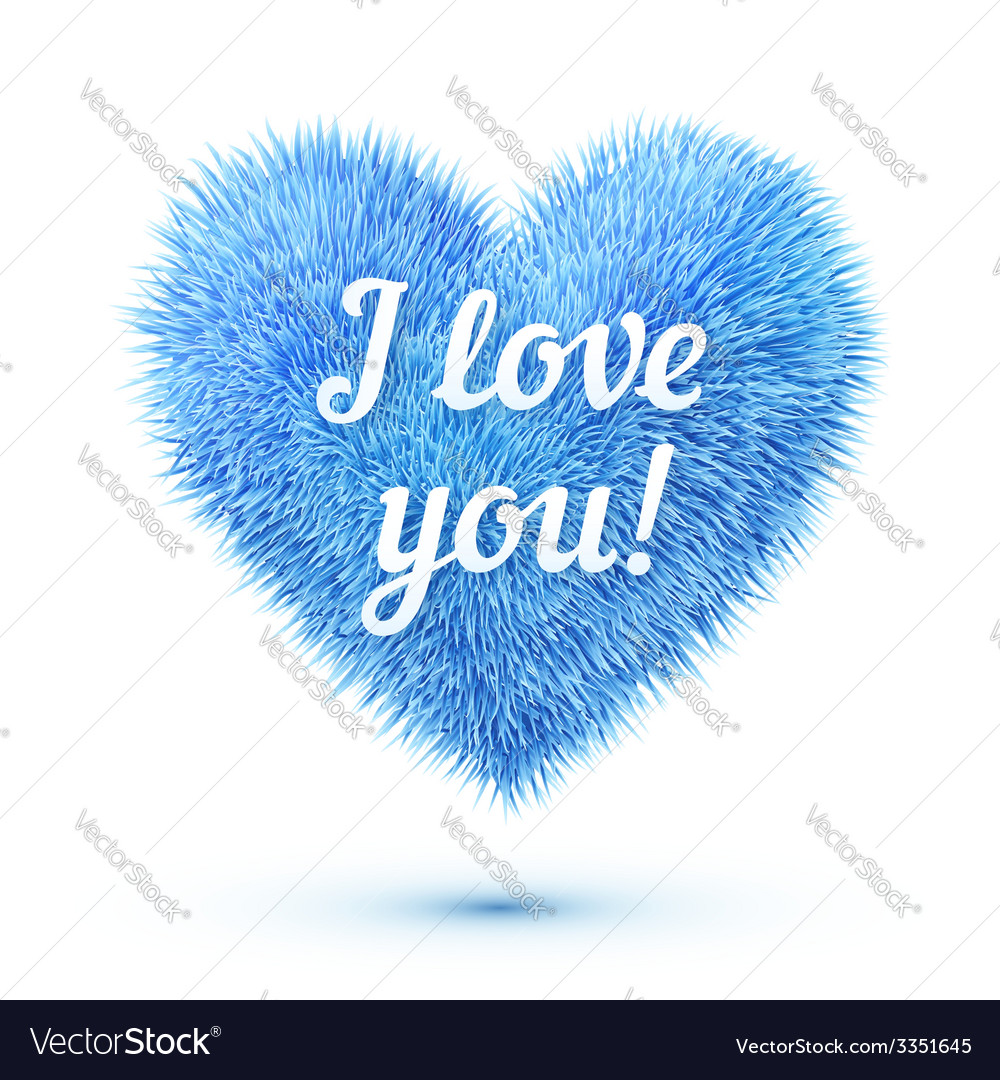 Blue fluffy heart with i love you sign vector | Price: 3 Credit (USD $3)
