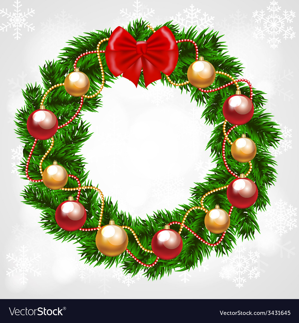 Christmas fir-tree wreath vector   Price: 1 Credit (USD $1)