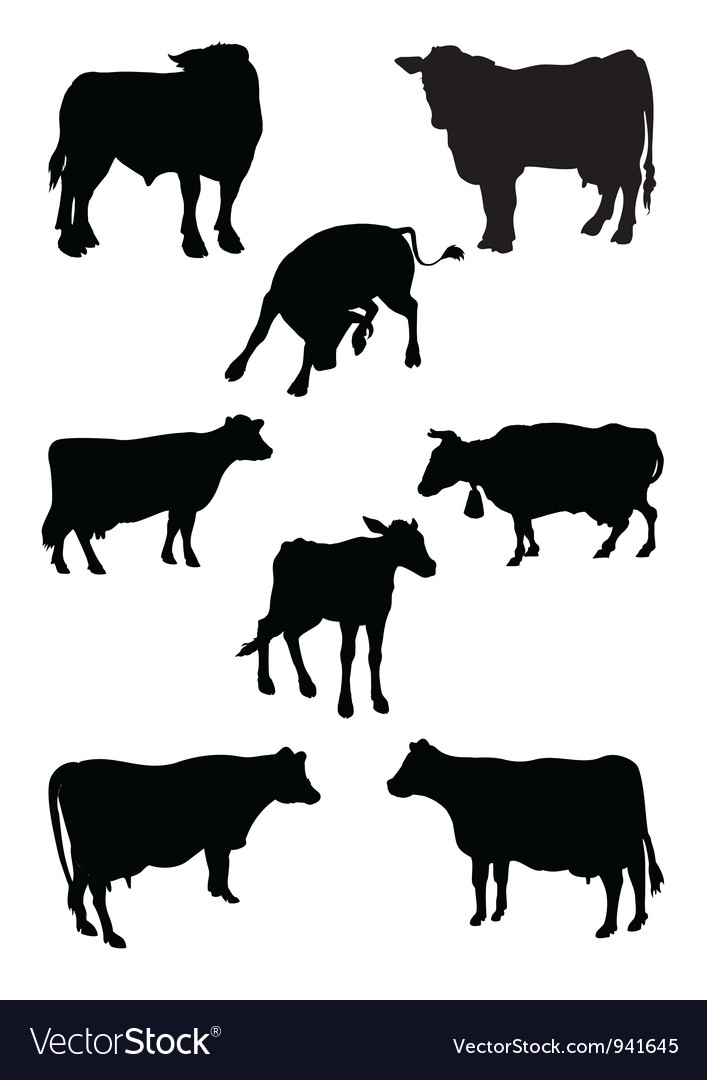 From a series silhouettes animals cow vector | Price: 1 Credit (USD $1)