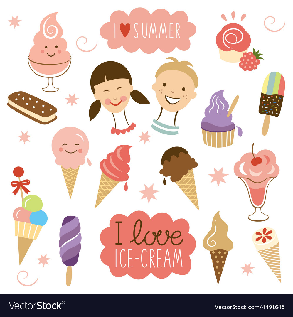 Ice cream sweet collection vector | Price: 1 Credit (USD $1)